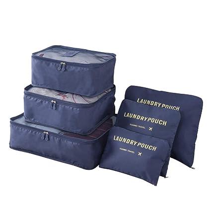 Kono Set de 6 Organizadores de Viajes Cubos de Embalaje Bolsa de lavandería Bolsas de compresión de Equipaje Bolsa en el Organizador de Bolsa para la ...