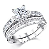 Wuziwen Wedding Rings for Women Cubic Zirconia Cz Sterling Silver Vintage Engagement Ring Bridal Set Size 9