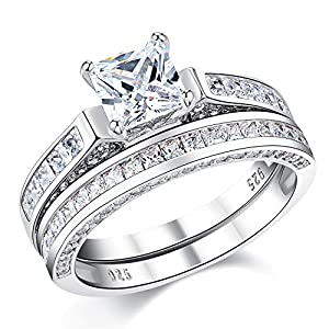Wuziwen 2Ct Sterling Silver Princess Cut Bridal Set Engagement Wedding Ring Bands with Cubic Zirconia Size 6