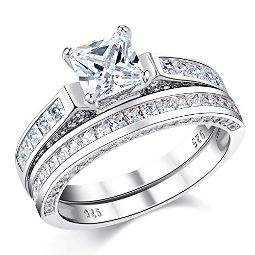 Wuziwen 2Ct Sterling Silver Princess Cut Bridal Set Engagement Wedding Ring Bands with Cubic Zirconia Size 8