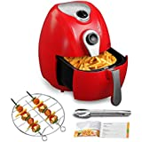 4.4QT Oilless Air Fryer-KUPPET 8-in-1 YA300 Red Hot/Deep Fryer with Basket-Timer Temperature Dual Control-6 Cooking Presets-Included Recipe, BBQ Rack, Anti-hot Clip-1300W