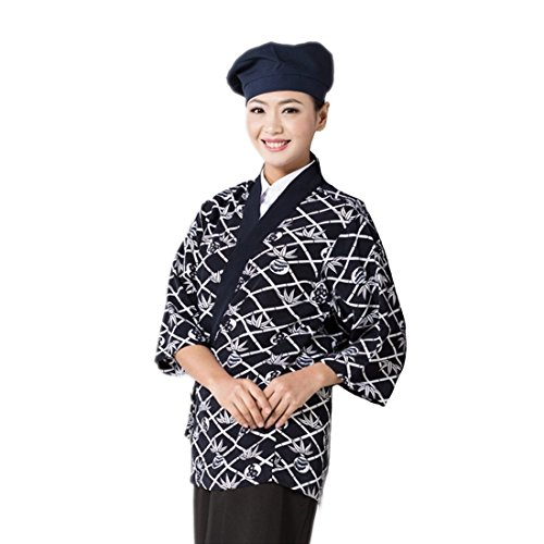Japanese black sushi chef coat with flower pattern for women restaurant uniform by ChefsUniforms