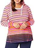 Itsmode Fashion Stylish Long Sleeve Color Block Multi Striped Cotton Hoodies for Women Plus Size Hooded Sweatshirt Loose Cute Pullover Tops Casual Tunic Shirts 4XL Black Red
