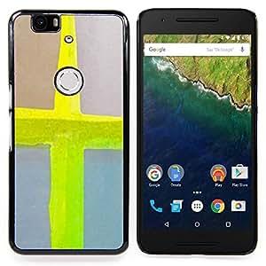 - Cross Jesus Neon Yellow Watercolor/ Duro Snap en el tel????fono celular de la cubierta - Cao - For Huawei Nexus 6P