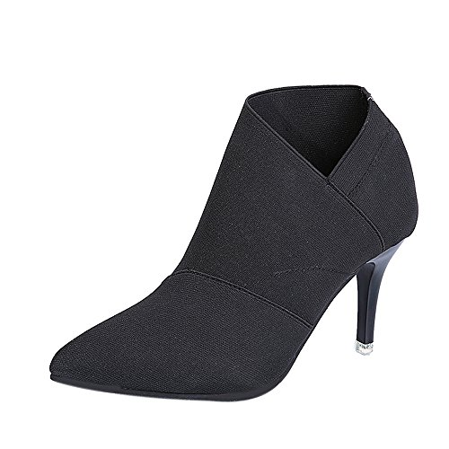Cenglings Women Winter Boots Genuine Leather Pointed Toe Black Stiletto Heels Pumps Ankle Boots Size5.5-9.5 (5.5, Black2)