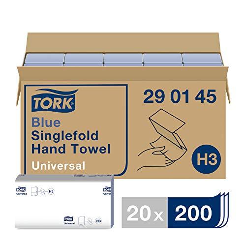 Tork blauwe Z-gevouwen papieren handdoeken universeel 290145 – H3 vouwhanddoeken voor papieren handdoek dispenser – 1…
