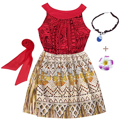 Cotrio Girls Moana Costumes with Accessories Toddler Sleeveless Birthday Party Princess Dresses Halloween Dress Up 3T (2-3Yrs, Red, Necklace + Flower -