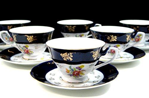 Euro Porcelain Premium 12-pc. Tea Cup Coffee Set, Floral Cobalt Blue Ornament, 24K Gold-Plated Accents, 6 Cups and Saucers, Vintage Czech Tableware