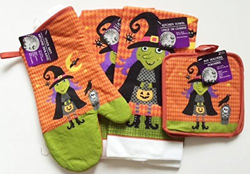 Halloween 2016 Kitchen Linen Sets (5 Piece Set) (Witch)