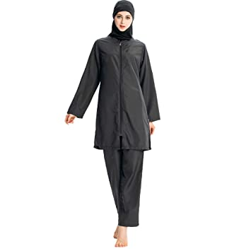 060ce6ea272 ziyimaoyi Muslim Swimwear for Women Girls Modest Islamic Bathing Suit Hijab  Burkini Swimsuits (M,