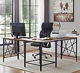 """O&K Furniture Industrial L-Shaped Corner Computer Desk, 63"""" + 63"""" PC Laptop Sturdy Workstation Desk for Home Office, Vintage Brown"""