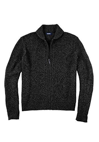 KingSize Men's Big & Tall Shaker Knit Zip-Front Cardigan, Black Marl (Mens Zip Front Cardigan)