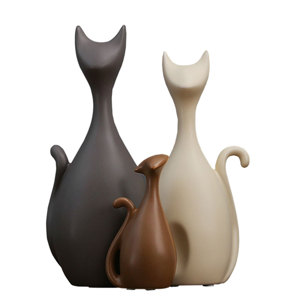 Aparts Norther Europe Living Room TV Cabinet Decoration Creative Ceramics [Three Cats] Home Office Furnishing Crafts Ornaments Gifts