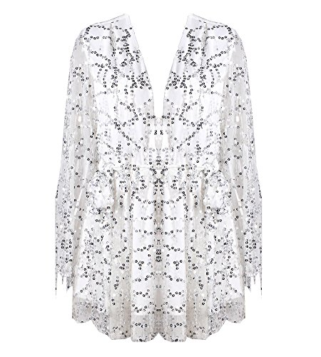 Missord Long Sleeve Slim Soft Lining Casual Jumpsuit Romper with Sequins White Small
