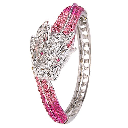 EVER FAITH Women's Austrian Crystal Cool Animal Fly Dragon Bangle Bracelet Pink Silver-Tone - Bracelet Dragon Head