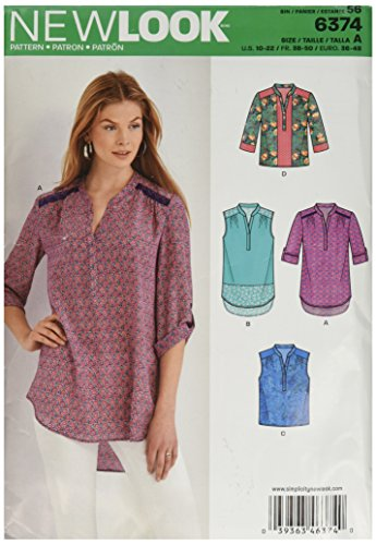 NEW LOOK 6374 Misses' Shirts with Sleeve and Length Options Sewing Kit, Size A (10-12-14-16-18-20-22)