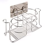 Toothbrush Holder Stainless Steel Bathroom Shelf for ElectricToothbrush and Toothpaste Wall Mounted With Cup Holder