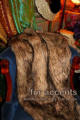 (Fur Accents Faux Coyote / Wolf Skin Throw Blanket / Plush Faux Fur 5'x7')