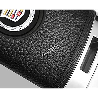 Luxury White Real leather Key Case Cover with Chain for Cadillac ATS CTS DTS XTS Escalade or Chevrolet Corvette C7 (1 set consisting of 1 Key Chain+ 1 cover): Automotive