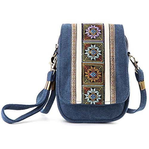 (Goodhan Embroidery Canvas Crossbody Bag Cell phone Pouch Coin Purse for Women Girls,Army Green (Deep Blue))