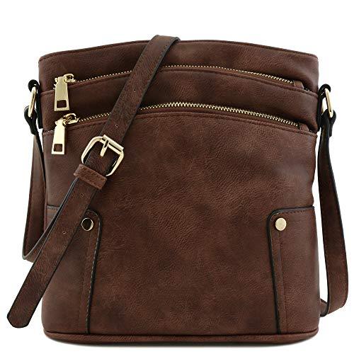 Triple Zip Pocket Medium Crossbody Bag (Coffee)