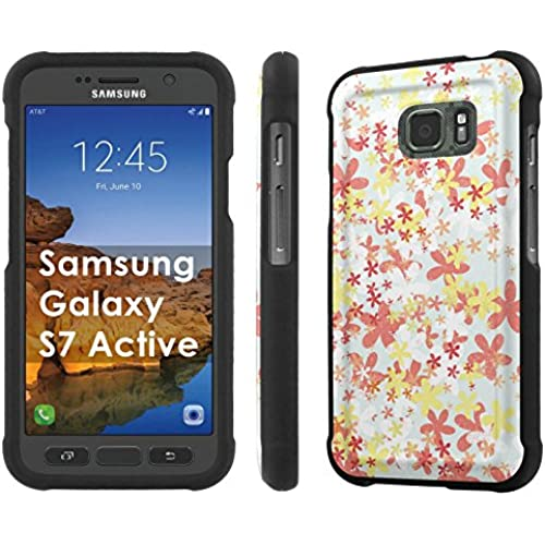 AT&T [Galaxy S7 Active] [5.1 Screen] Armor Case [NakedShield] [Black] Total Armor Protection [Shell Snap] + [Screen Protector] Phone Case - [Flower Stamp] for Sales