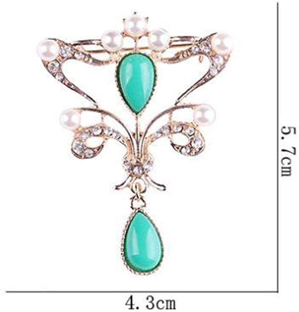 YRUI 1 Pcs Brooch Brooch Pins Lovely Oriental Style Pendant Design for Wedding Alloy Shawl Clip Lover Golden and Green