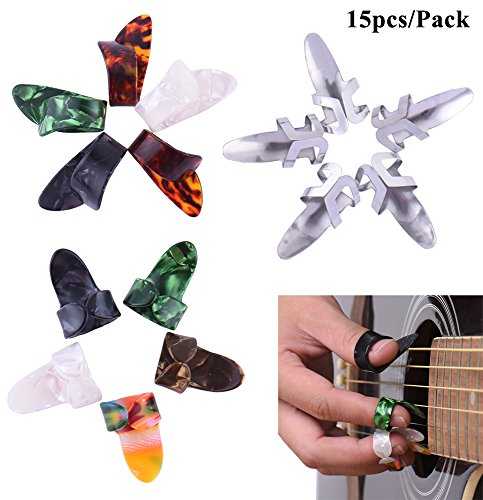 15pcs Stainless Steel Celluloid Thumb Finger Guitar Picks with Case - 3