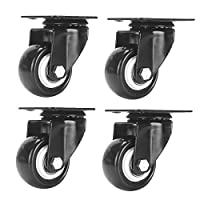 """Accessbuy 2"""" Heavy Duty Caster Wheels PU Rubber Swivel Casters with 360 Degree Top Plate & Bearing Heavy Duty Pack of 4 (4 Pack Without Brake)"""