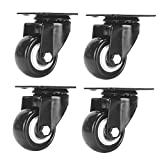 "Accessbuy 2"" Heavy Duty Caster Wheels PU Rubber Swivel Casters with 360 Degree Top Plate & Bearing Heavy Duty Pack of 4 - Black (2 inch Plate)"