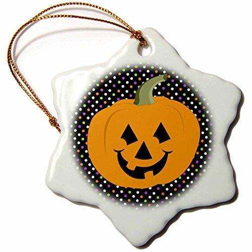Janna Salak Designs Halloween - Happy Jack O Lantern - 3 inch Snowflake Porcelain Ornament -