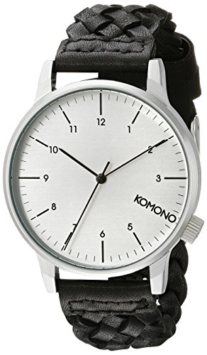 KOMONO Unisex KOM-W2032 Winston Woven Series Analog Display Japanese Quartz Black Watch