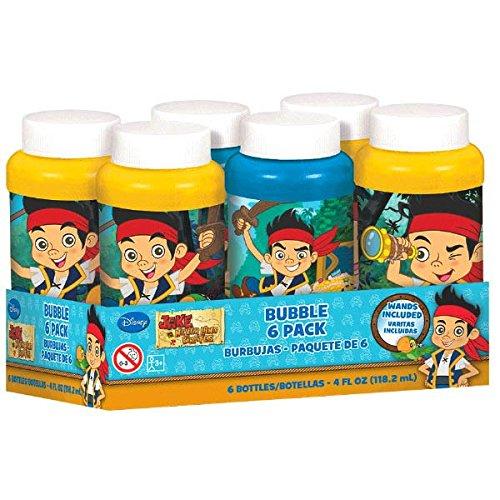 Amscan Disney Jake & the Neverland Pirates Bubble Bottles, Blue/Yellow, 4 oz