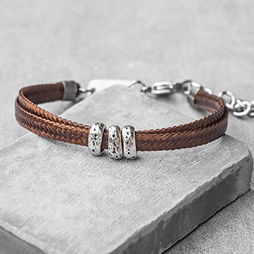 - Handmade Cuff Brown Fabric Bracelet For Men Set With 3 Silver Plated Beads By Galis Jewelry - Cuff Bracelet For Men - Beaded Bracelet For Men - Jewelry For Men