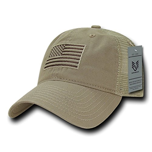 Soft Fit American Flag Embroidered Cotton Trucker Mesh Back Cap - Khaki