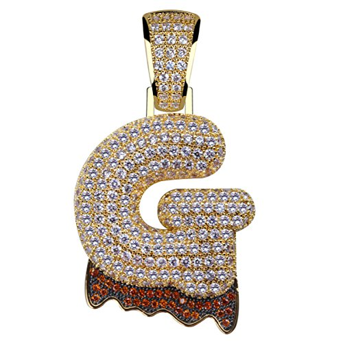 HECHUANG Micropave Simulated Diamond Iced Out Bling Custom Bubble Letters Dripping Initial Pendant with Rope Chain (G Gold, 24)
