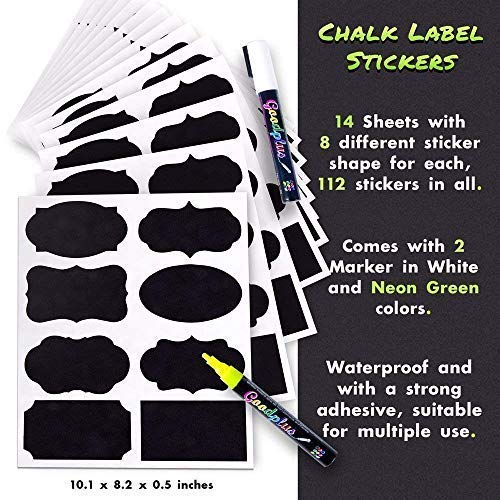 Chalkboard Labels: 112 Assorted Shapes & Sizes, Reusable & Waterproof Chalkboards Sticker Labels for Mason Jars, Kitchen/Pantry and Office Organizing Comes with Easy to Ink White & Yellow Markers