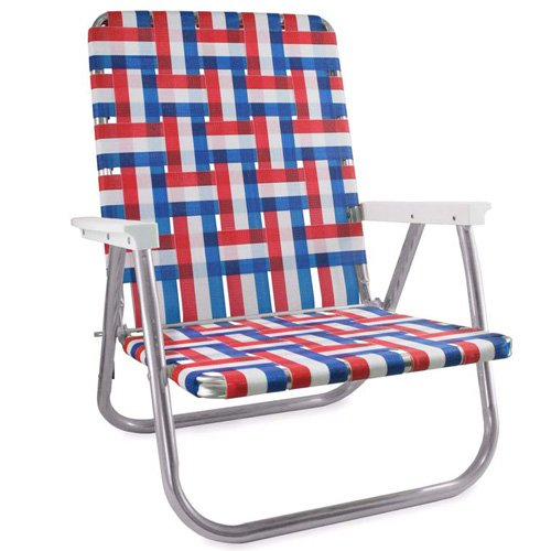 High Back Aluminum Frame (Lawn Chair USA Webbing Chair (High Back Beach Chair, Old Glory with White Arms))