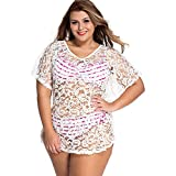 Slocyclub Women Batwing Sleeve Soft Lace Mini White Dress Cover up