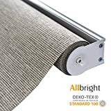 ALLBRIGHT Thermal Insulated Fabric 100% Blackout UV Protection Rialto Emboss Cordless Roller Shades for Windows, Easy to Install, Coffee, 47''W x 72''H