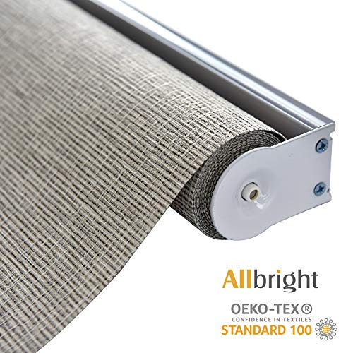 ALLBRIGHT Thermal Insulated Fabric 100% Blackout UV Protection Rialto Emboss Cordless Roller Shades for Windows, Easy to Install, Coffee, 47