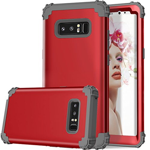 Galaxy Note 8 Case, Dooge 3in1 Hybrid Impact Heavy Duty Armor Defender Full-Body Shockproof Anti Slip Protective Cover with Silicone&Hard Solid PC Bumper for Samsung Galaxy Note 8 - Red Belkin Blue Silicone Case