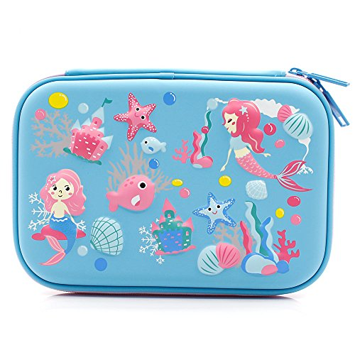 Mermaid Big Capacity Hardtop Pencil Case with Compartment - Cute School Stationery Supply Organizer Box Pen Holder for Kids Girls Toddlers (Light Blue)