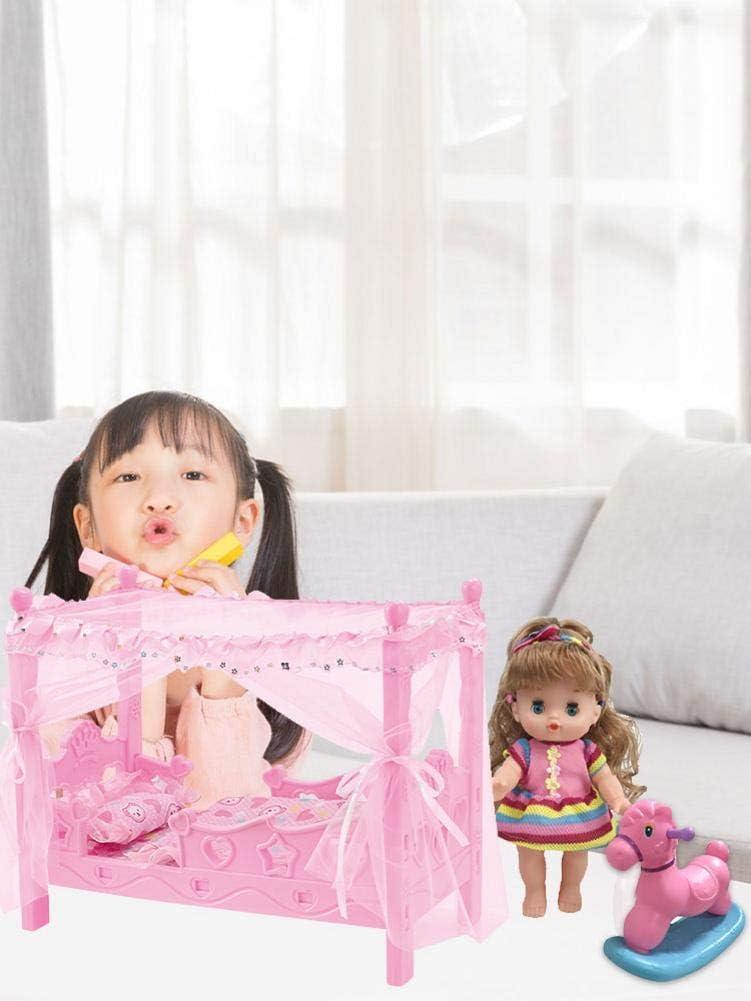 Hearthrousy Kinderwagen Bett Spielzeug Kinderspielhaus M/ädchen Spielhaus Spielzeug Bett Prinzessin Puppe Spielzeug Shaker H/ängematte Simulation Kinderbett Mini Puppenhaus Zubeh/ör