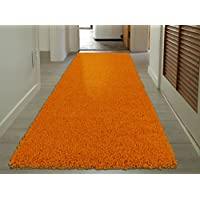 Sweet Home Stores Cozy Shag Collection Orange Solid Shag Rug (27 X 80) Contemporary Living and Bedroom Soft Shaggy Runner Rug