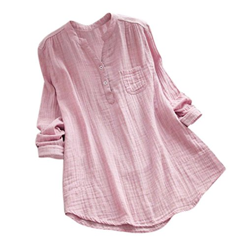 Women Tops, ANJUNIE Long Sleeve Loose Cotton V-Neck Shirt Fashion Slim T-Shirt(Pink,L)