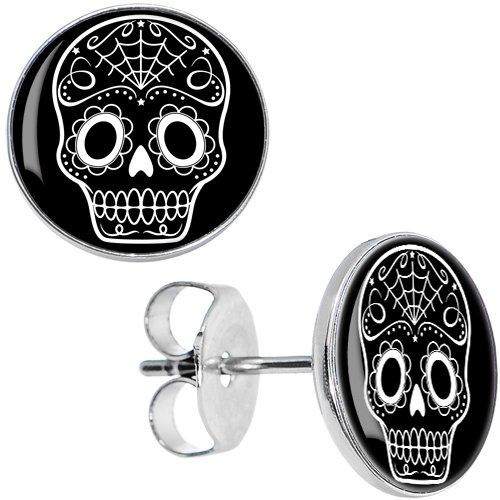 Body Candy Stainless Steel Black White Sugar Skull Art Stud ()