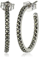 "Judith Jack ""Round-about"" Sterling Silver and Swarovski Marcasite Hoop Earrings"