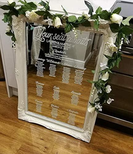 Personalised Wedding Seating Plan table plan-Floral /& Rose Gold Effect