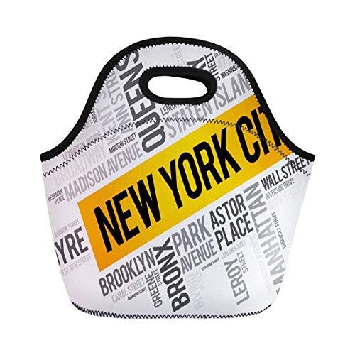Semtomn Lunch Bags America List of Streets in New York City Word Neoprene Lunch Bag Lunchbox Tote Bag Portable Picnic Bag Cooler Bag